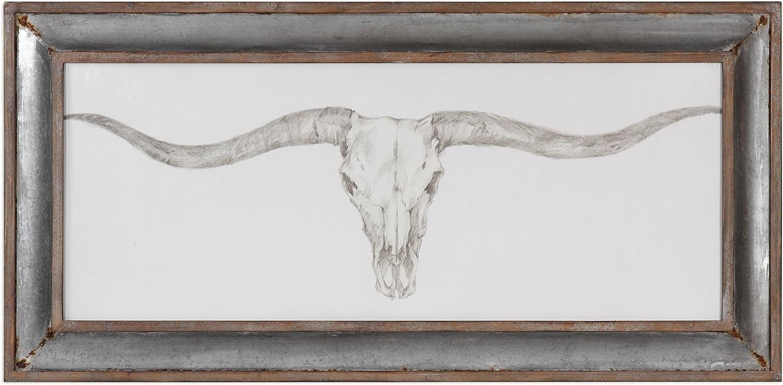 "My Swanky Home Texas Longhorn Skull Rustic Wall Art | 71"" Wide South Western Print"