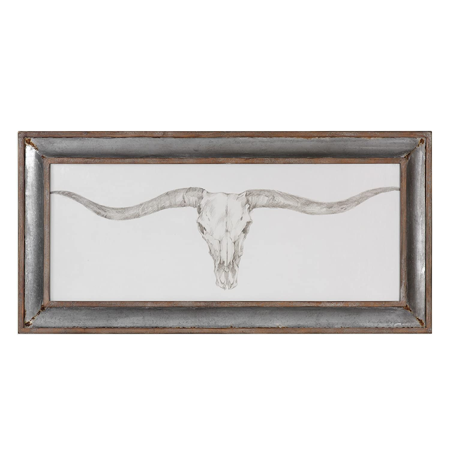 Amazon com my swanky home texas longhorn skull rustic wall art 71