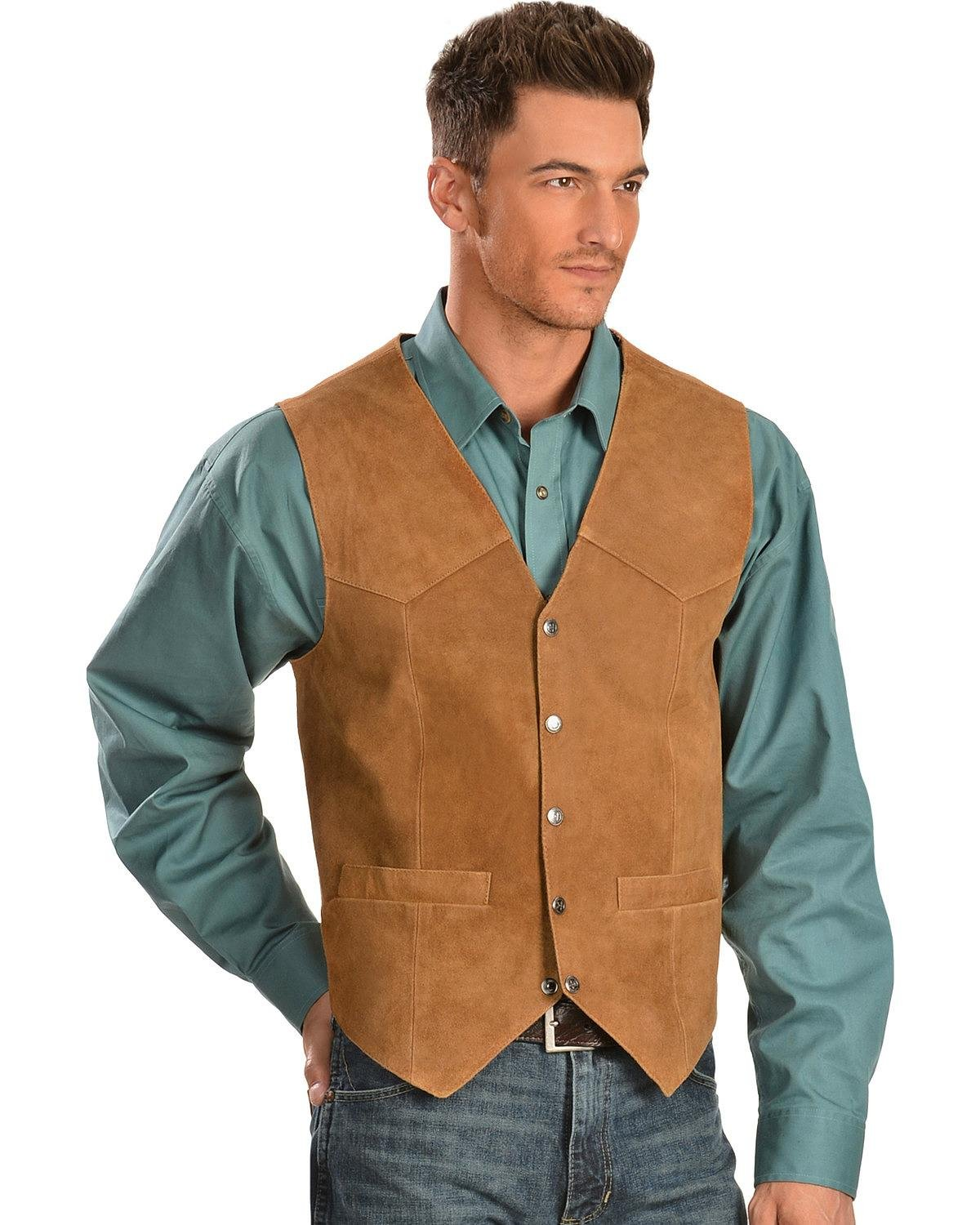 Scully Men's Rugged Calf Suede Vest Rust Large by Scully