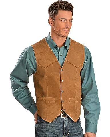 70s Jackets & Hippie Vests, Ponchos Scully Mens Cowhide Suede Vest $134.10 AT vintagedancer.com