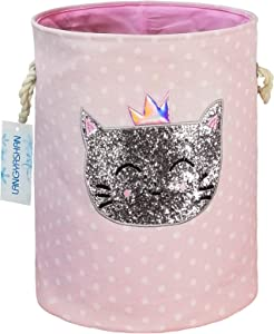 LANGYASHAN Storage Bin,Cotton Collapsible Organizer Basket for Girls Laundry Hamper,Toy Bins,Gift Baskets, Bedroom, Clothes,Baby Nursery (Cat)