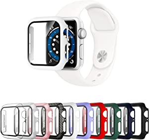 Mocodi 10 Pack Apple Watch Case 38mm Series 3/2/1 with Tempered Glass Screen Protector,Ultra-Thin Hard PC Shockproof Bumper Full Scratch-Resistant Protective Cover for Men Women iWatch Accessories
