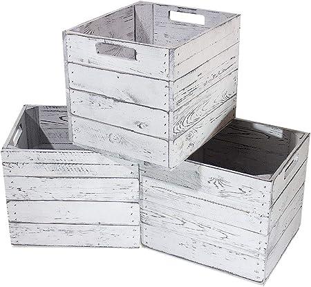 IKEA - Caja de madera para estantería Kallax (33 x 37,5 x 32,5 cm), diseño vintage, color blanco y gris: Amazon.es: Hogar
