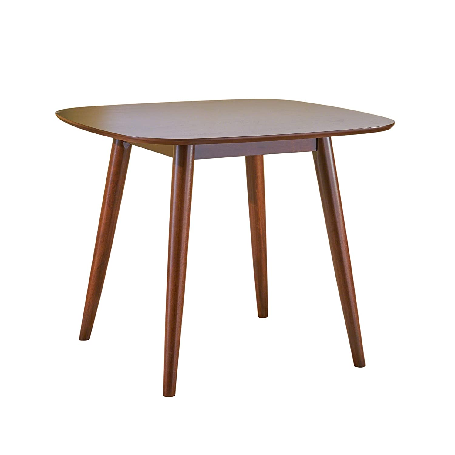 Christopher Knight Home 305368 Bass Mid Century Modern Square Faux Wood Dining Table, Walnut Finish