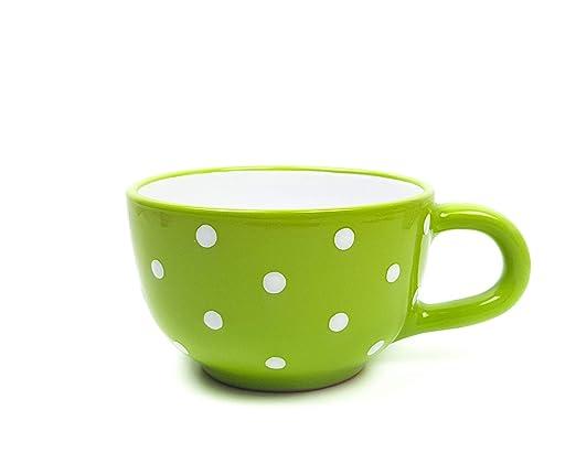 Cerámica Jumbo Taza de té verde claro con mano bemalten Lunares ...