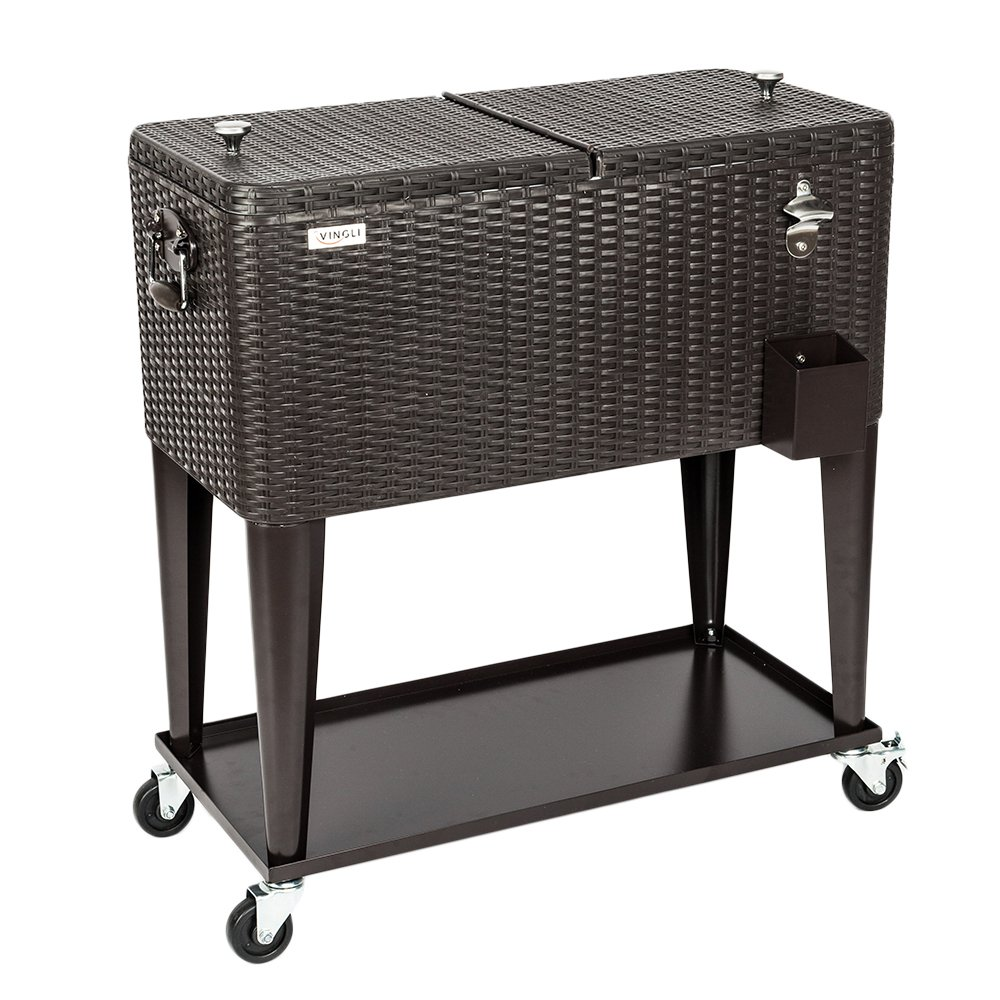 VINGLI 80 Quart Rolling Ice Chest on Wheels, Portable Patio Party Bar Drink Cooler Cart, Wicker PP Rattan with Shelf, Beverage Pool with Bottle Opener and Rolling Cover