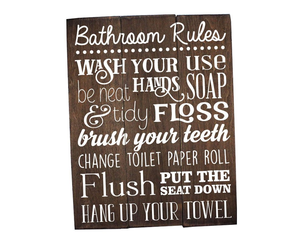 Elegant Signs Bathroom rules decor art for kids rustic sign for wall by for big or little children decoration
