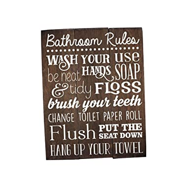 Elegant Signs Bathroom Rules Sign Rustic Kids Art Wall Decor