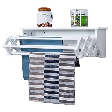 Tangkula Wall Mount Drying Rack Bathroom Home Expandable Towel Rack Drying Laudry Hanger Clothes Rack (Wood)