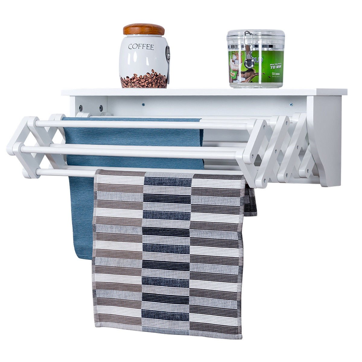 Globe House Products GHP White Pine Wood Wall-Mounted Folding CLothes Towel Drying Rack with Top Shelf by Globe House Products (Image #1)