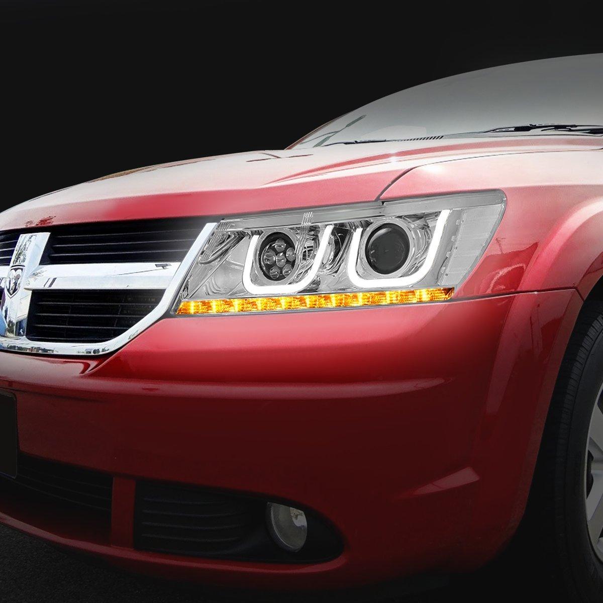 DNA Motoring HL-JOURNER09-C-CK Pair of LED DRL+Turn Signal Projector Headlight For 09-17 Dodge Journey