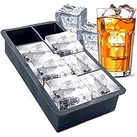 FPM Moldes para Hielo de Silicona, Flexible, Gran Tamaño, 8 Cavidades, Fácil de Liberar, Whisky, Bebidas Refrescantes