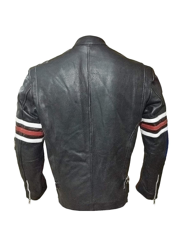 Chaqueta de Piel para Motociclista Color Negro House MD Hugh Laurie Dr Gregory House RTAI