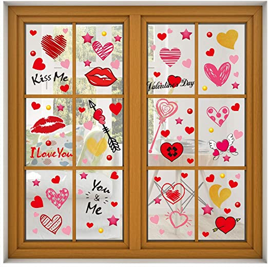 16pcs Valentine/'s Day Window Clings Decorations Heart Decal Party Ornaments