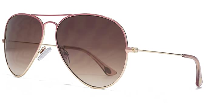 American Freshman Klassischer Metall-Aviator Sonnenbrille Rosa auf Gold Farbverlauf AFS025 One Size Brown Gradient lPEEQ3fXm3