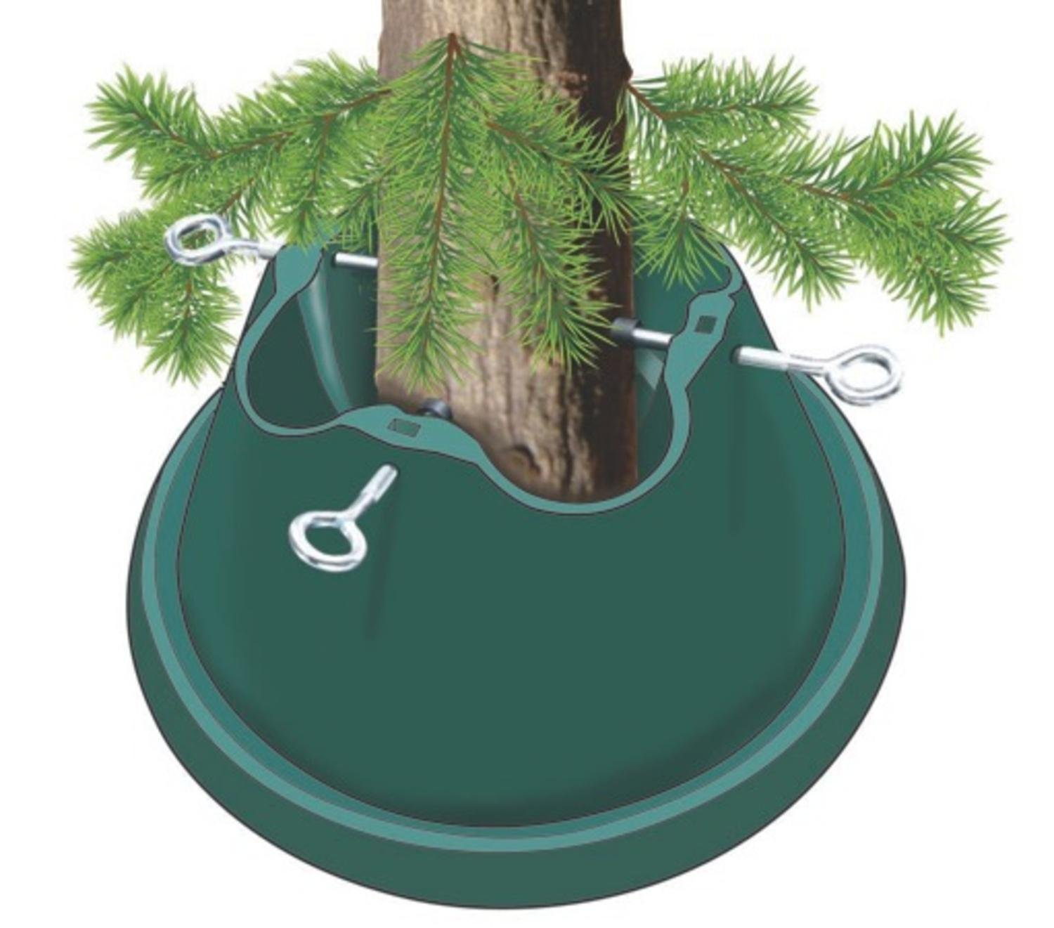 St. Nicks Choice Heavy Duty Green Easy Watering Christmas Tree Stand - For Live Trees Up To 8'