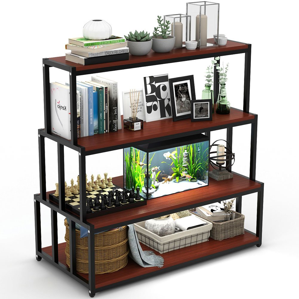 4 Tier Bookshelf Bookcase LITTLE TREE Free Standing Storage Display Shelf For Home Office Cherry