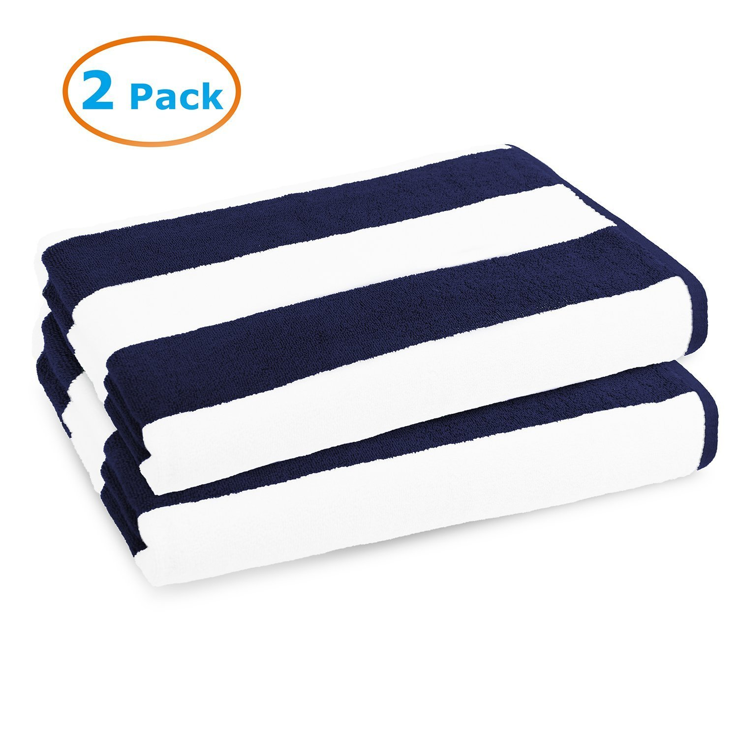 2 Pack Navy Blue Cabana Stripe Large Bath Towels Set, 100% Turkish Cotton Towels for Bath Beach Pool Gym Hotel Spa Chair Lounge Cover, Soft and Absorbent (Oversized Large 40 by 70 inches) (Set of 2)