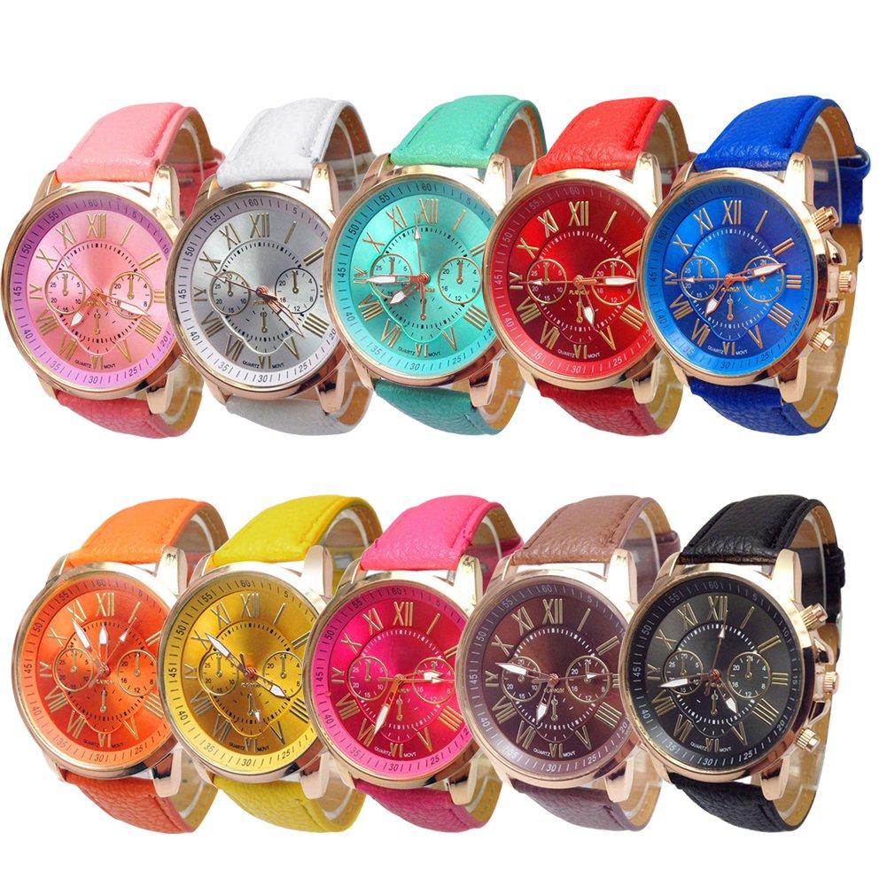 Wholesale! Women 10 Pack Stylish Roman Numerals Watches, SINMA Leather Analog Quartz Dress Wrist Watch