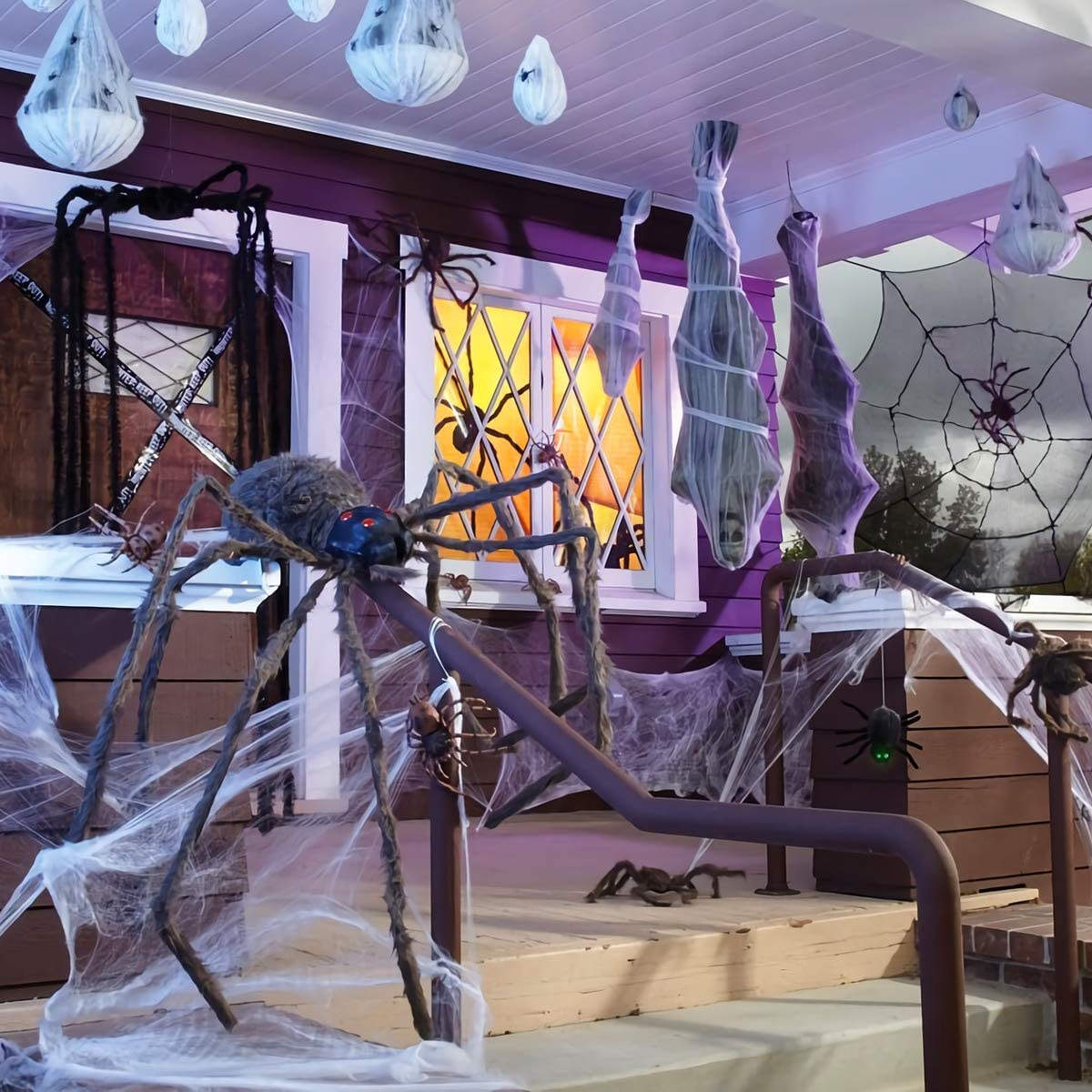 Halloween Spider Webs 1000 sqft Halloween Stretch Cobwebs Night Light Web Spider Webbing Indoor Outdoor Decoration