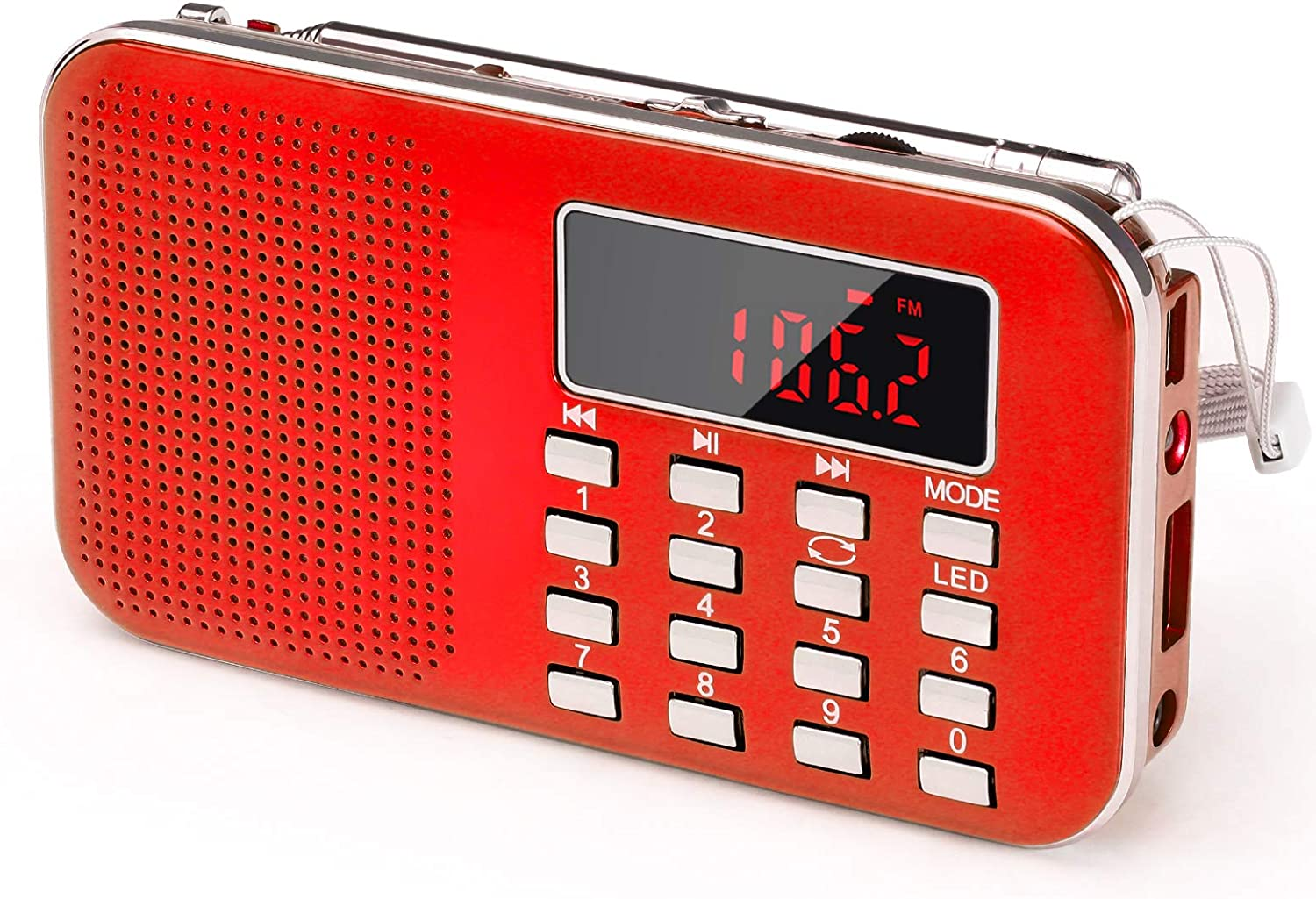 Digital Radio Speaker Music Player Support Micro SD//TF Card//USB RED PRUNUS J-908 Mini Portable Pocket AM//FM Radio with LED Flashlight 1200mAh Rechargeable Battery Operated Auto Scan Save