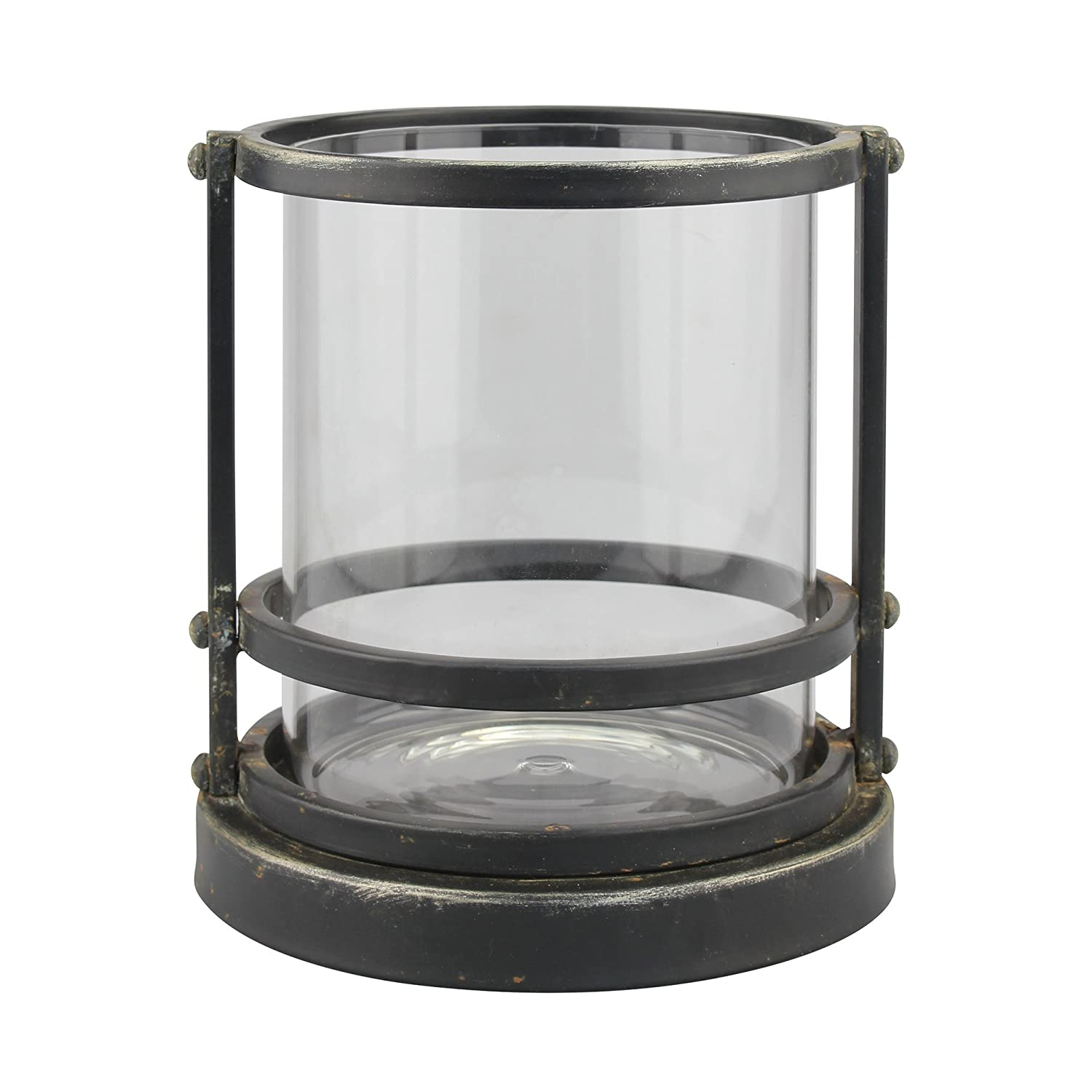 Stonebriar Industrial Black Metal Cage Pillar Candle Holder with Removable Glass Hurricane, Decorative Rustic Design for Wedding Decorations, Parties, or Everyday Home Decor, Small CKK Home Décor SB-6053A