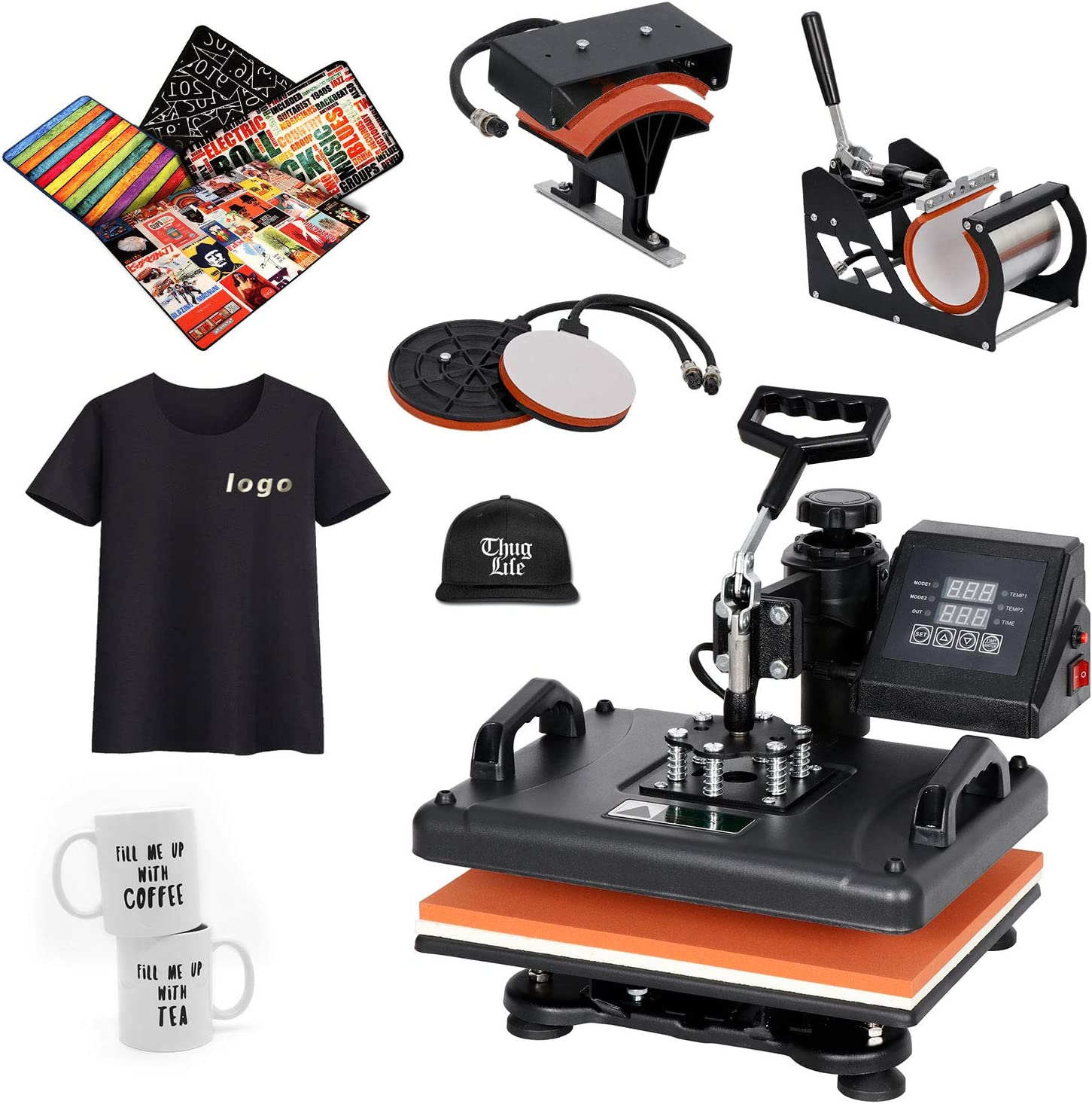 5in1 Digital Heat Press Machine Digital Transfer Sublimation T-Shirt Mug Hat US