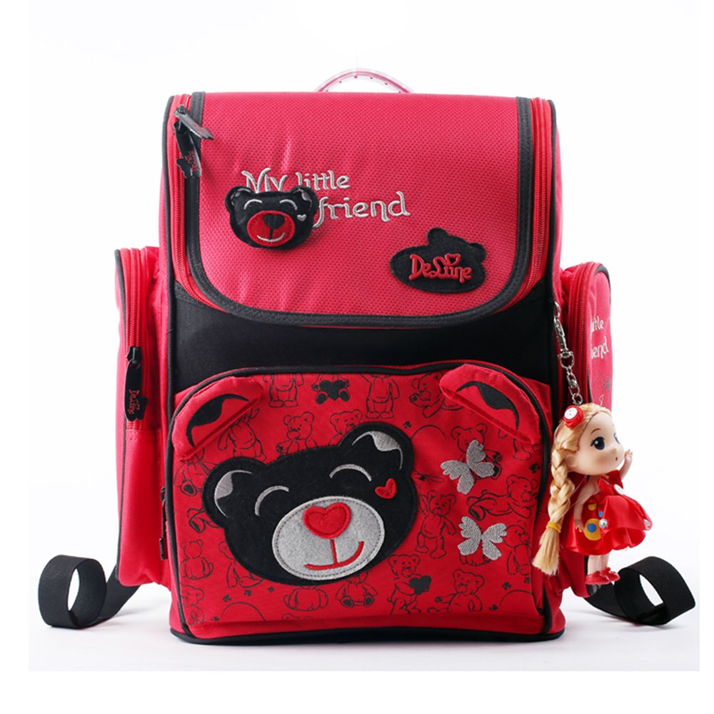 Delune Kids Cartoon School Bags Children Orthopedic Backpack for Girls Kids