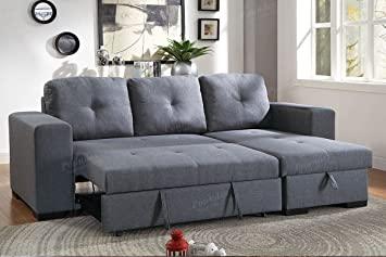 Poundex Convertible Sectional, Blue Grey