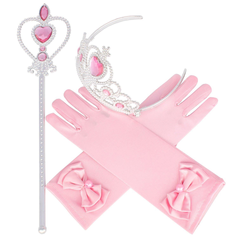XiangGuanQianYing Tiaras Crowns Little Girls Princess Wand Pink Tiara Gloves Set of 3 Cosplay Accessories
