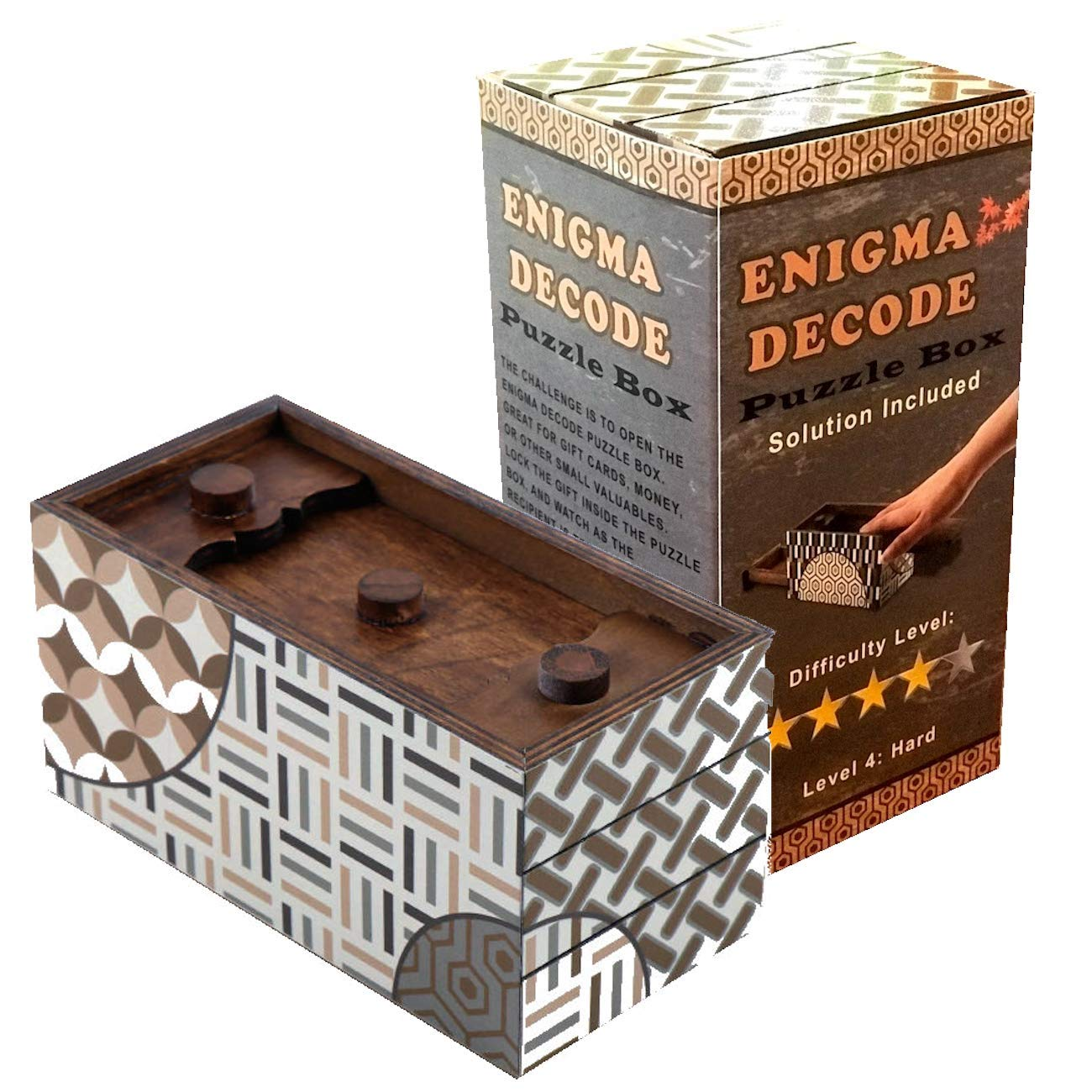 Enigma Decode Secret Puzzle Box - Money and Gift Card Holder in a Wood Magic Trick Lock with Two Hidden Compartments Brainteaser Toy by Winshare Puzzles and Games