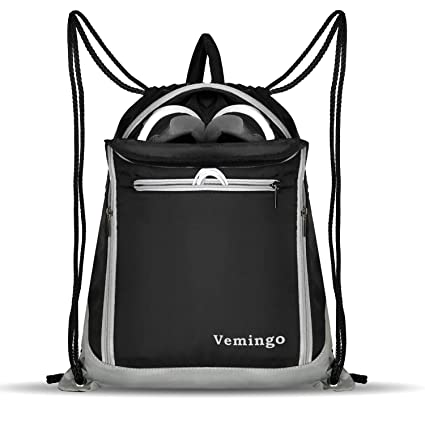 2fab5916e711 Vemingo Drawstring Bag Backpack with Shoe Compartment Gym Sport String Bag  Sack Cinch Bag Men Women