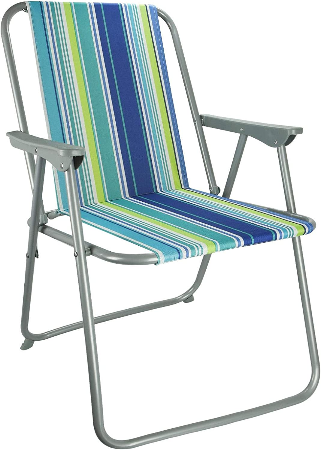 ASAB Folding Garden Patio Spring Deck Chair With Arms & Comfortable Fabric Seat Picnic Camping Beach Fishing Outdoor - Stripe