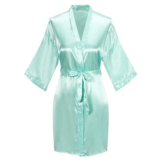 0b174ecbbbff Women's Short Kimono Robe Pure Color Silky Bathrobe Bridal Party Dressing  Gown, Mint Green,