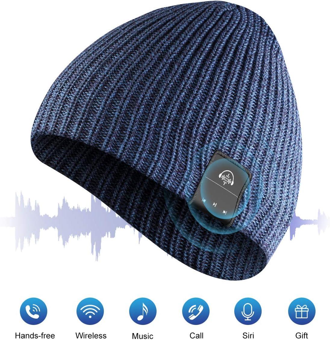 AMYYMA Wireless Beanie Music Hat, Winter Outdoor Sport Knit Cap with HD Stereo Headset Earphone Speaker Siri Voice Mic for Man Women Blue