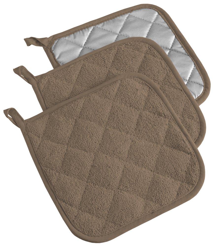 DII 100% Cotton, Terry Pot Holder Set Machine Washable, Heat Resistant, 7 x 7, Brown, 3 Piece
