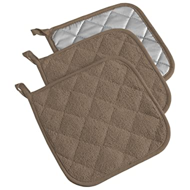 DII, Cotton Terry Pot Holders, Heat Resistant and Machine Washable, Set of 3, Brown