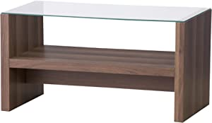 AZUMAYA CAT-BR Wooden Coffee Center Table with 5mm Glass Table Top MDF Wood Material KD Furniture, W29.5 x D15.7 x H16.3 Inches, Brown