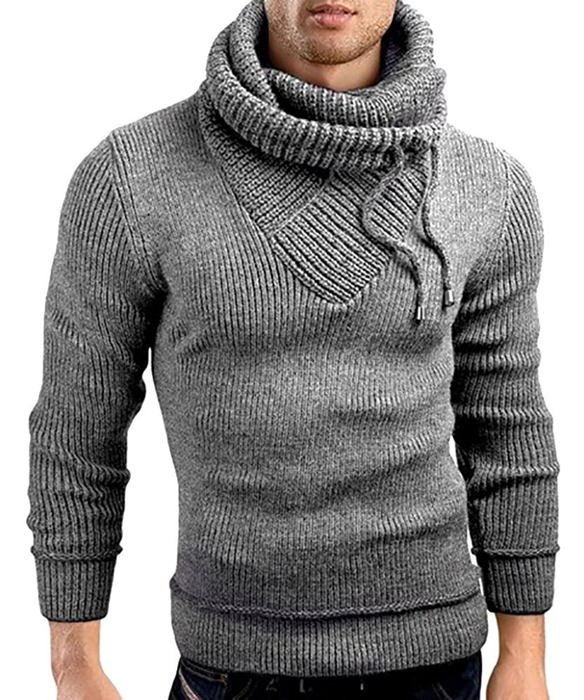 Male Stand Cowl Neck Sweater Ribbed Long Sleeve Turtleneck Pullover Knitted Sweater with Drawstring Gray by Ferbia