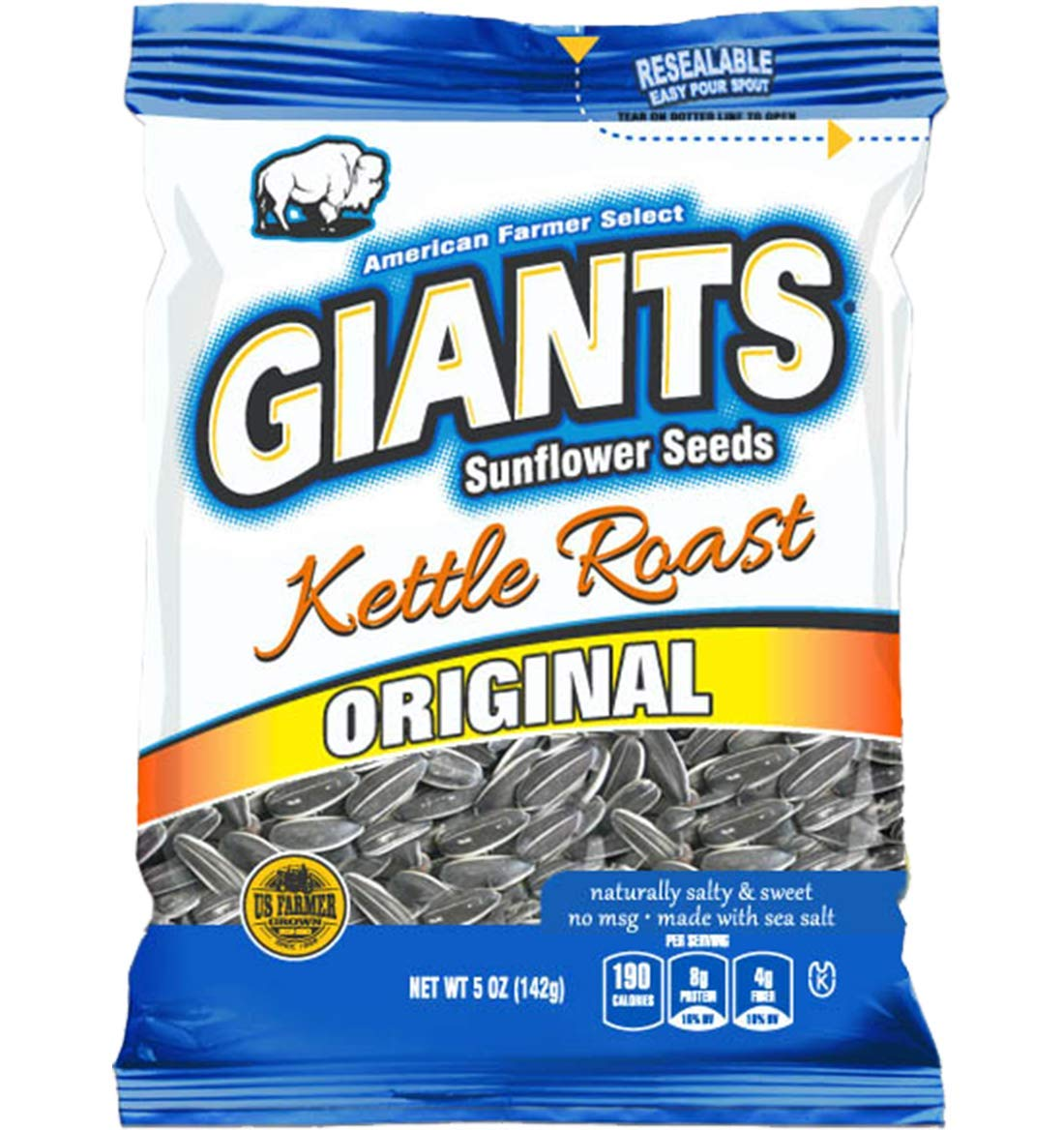 GIANTS Sunflower Seeds Roasted Salty Sweet Flavor, 5-Ounce Bags (Pack of 12) by GIANTS