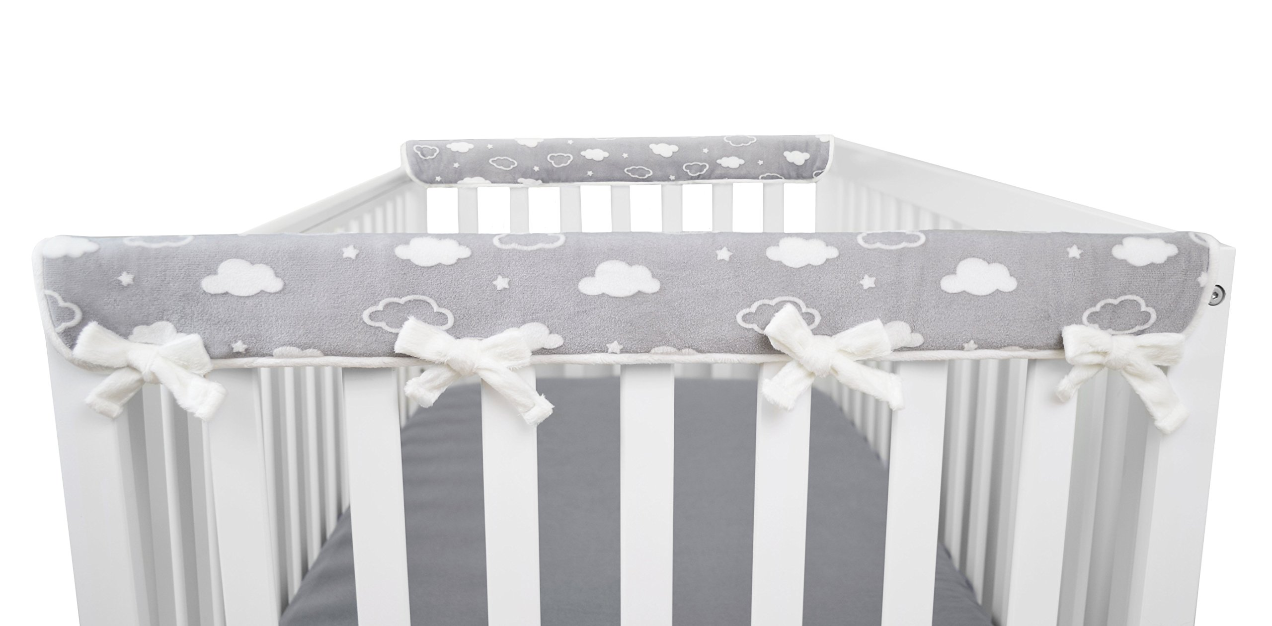 American Baby Company 2 Pack Heavenly Soft Chenille Reversible Crib Rail Cover for Side Rails, 3D Cloud/Grey, Narrow for Rails Measuring up to 8'' Around