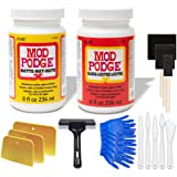 Mod Podge Bundle, 8 Ounce Gloss and Matte Medium Waterproof Sealer, Pixiss Accessory Kit with Brayer, Brushes, Gloves, Spread