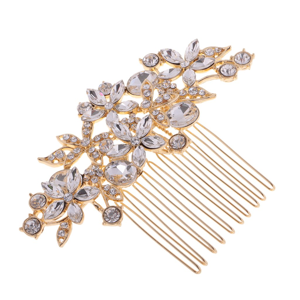 Jili Online Flower Rhinestone Crystal Wedding Bridal Gold Hair Comb Headpiece Accessory
