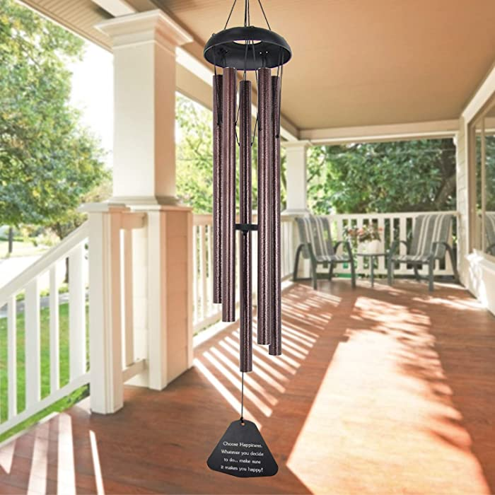 """ASTARIN Sympathy Wind Chimes Outdoor Large Deep Tone,36"""" Large Wind Chimes Outdoor Tuned Relaxing Melody,Memorial Windchime Unique Outdoor Personalized for Garden Decor, Bronze(A Free Card)"""