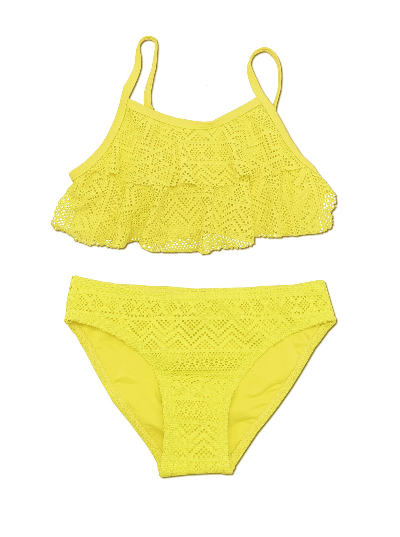 6d1030df20524c Galleon - SHEKINI Girls Swimwear Flounce Crochet Two Piece Bikini Bathing  Suits (14-16 Years/(170-176 Cm), Lily Yellow)