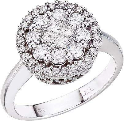 Amazon Com 14k White Gold Diamond Clustaire Ring Zales Jewelry