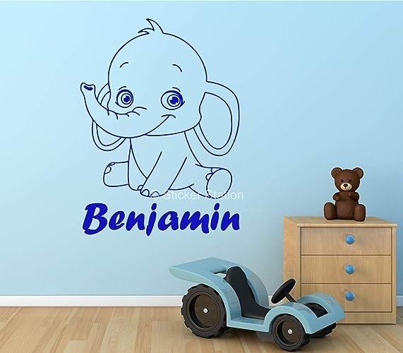 Baby Elefant Kinder Personalisierten Namen Wandkunst