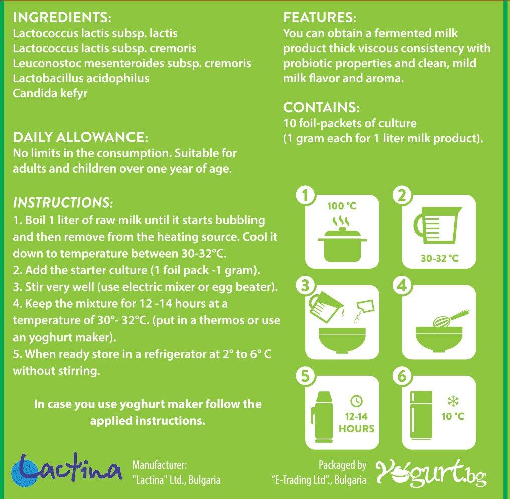 vitalakt yogur Acidophilus Yogurt Starter cultura - para la creación en casa - 10 litros Acidophilus MABAMAHO Probiotic lácteo: Amazon.es: Salud y cuidado ...