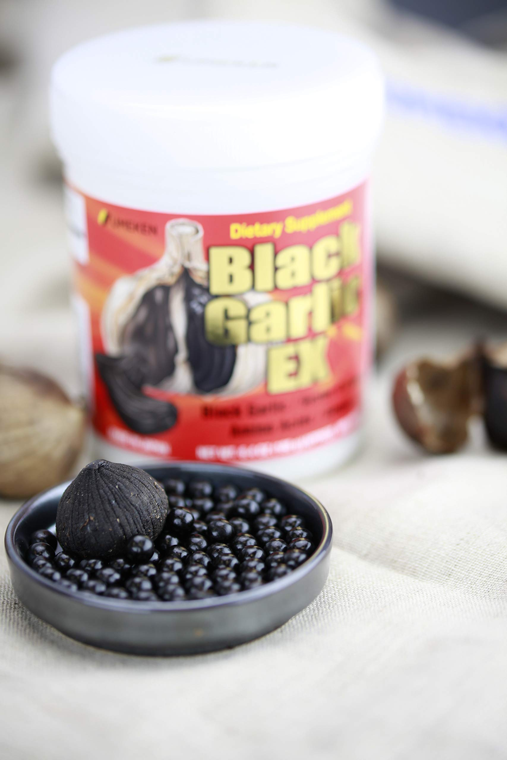 Umeken Black Garlic EX - Fermented Black Concentrated Garlic Extract - Rich in Vitamin B1, Allicin, Amino Acids. About 3 Month Supply. Made in Japan.