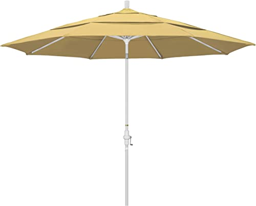 California Umbrella 11 Round Aluminum Market Umbrella, Crank Lift, Collar Tilt, White Pole, Sunbrella Wheat